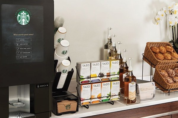Breakroom with a custom Starbucks coffee dispenser, Office Coffee Services in Dallas