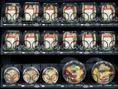 pre-packaged meals in a vending machine