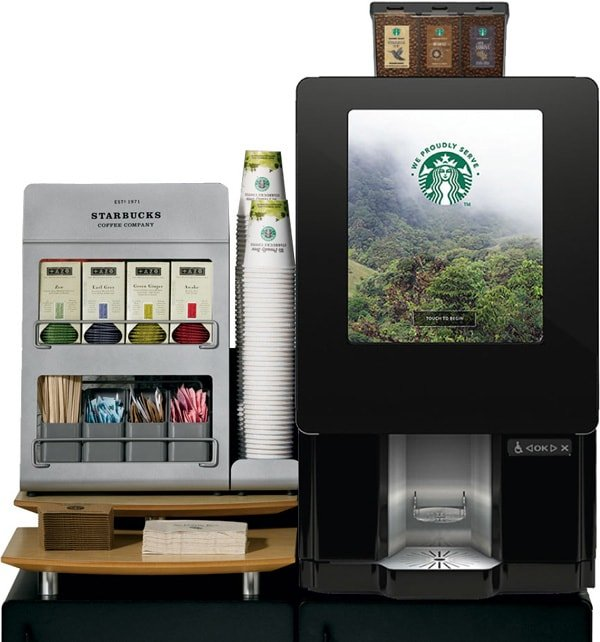 A Starbucks coffee dispensing machine, Breakroom Supplies in Dallas
